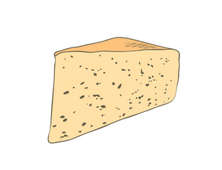 Vector illustration, isolated triangularly cut yellow piece of cheese with small holes, outline hand painted drawing