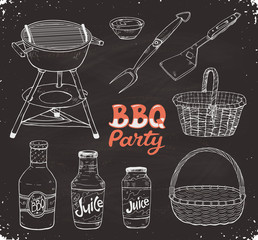 BBQ party. Hand drawn outdoor grill ion blackboard. Barbeque basket sketch. Grill time accessories and unencils.