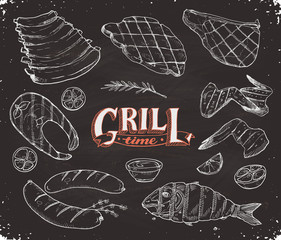 Grill time. Hand drawn bbq meat and fried fish sketches on chalk board. Barbeque pork ribs, beafsteak, chicken wings. Grilled dorado and salmon. Roasted sausages.
