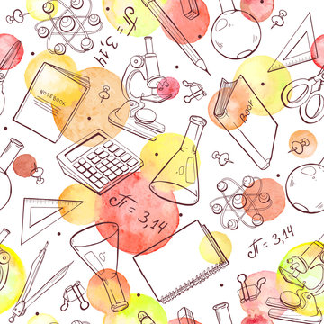 School doodle background with watercolor circles. Vector seamless pattern from school elements hand drawn on blackboard. Back to school backdrop in sketch style.