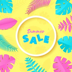 Summer Tropical palm leaves, plants in trandy paper cut style. White round frame 3d letters SALE on exotic blue pink leaves on yellow sunny background for advertising.. Circle lable. Vector card
