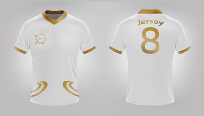 Jersey shirt football white and gold design. Vector realistic file.