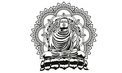 Buddha over ornate mandala round pattern esoteric, shining buddha in meditation on beautiful and magical mandala can be used as greeting card for