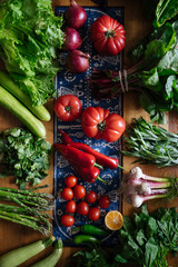 Overhead view of fresh vegetables on table