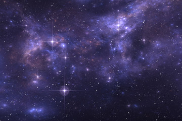 Starry night sky space background with nebula
