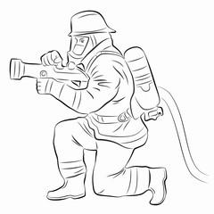 illustration of a fireman, vector draw
