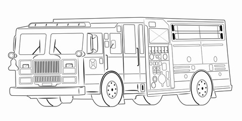 illustration of a fire truck, vector draw