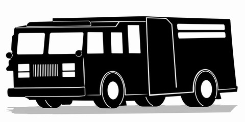 silhouette of a fire truck, vector draw