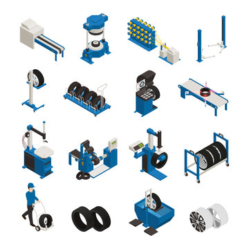 Tire Production Isometric Icons