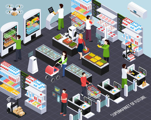 Supermarket Future Technology Isometric