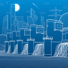 Hydro power plant. River Dam. Energy station. City infrastructure industrial illustration. White lines on blue background. Vector design art