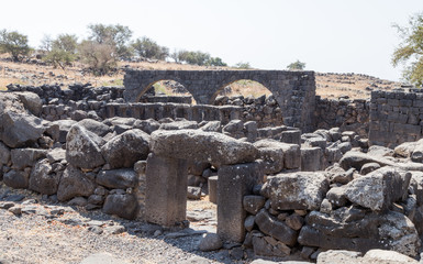 Ruins of the ancient Hebrew city Korazim (Horazin, Khirbet Karazeh), destroyed by an earthquake in the 4th century AD, on the Golan Heights in Israel