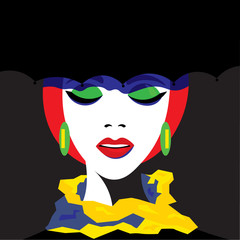 Girl in hat in pop art style. Vector graphics.