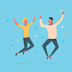 Vector cartoon illustration of Couple woman and man are jumping. Fun and friendship concept with happy characters.