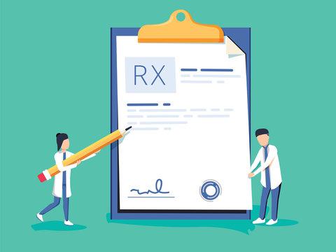 Miniature doctor writing prescription. Clipboard whit signature. Rx prescription form. Medical prescription pad.