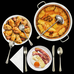 Traditional domestic Pickled Cabbage Rolls served with Fried Bacon and Egg Isolated on Black Background