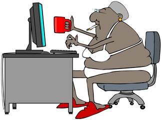 Illustration of an old black woman drinking coffee and smoking a cigarette while sitting at her computer in her bra and panties.