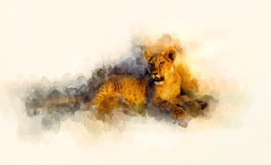 cute lion and graphivc effect. Softly blurred watercolor background.