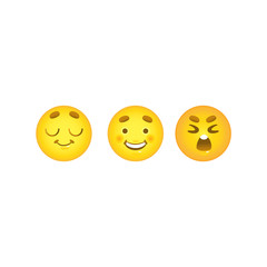 Smiley emoticon balls set with dreaming, happy and crying face emotions isolated on white background. Various expressions on cute yellow emoji in cartoon vector illustration.