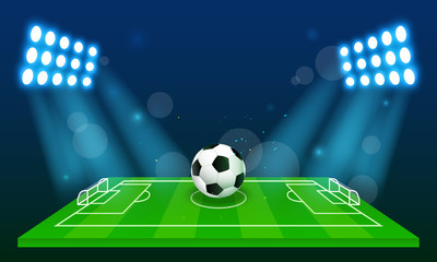 Soccer field background vector illustration. Ball in arena field with stadium lights.