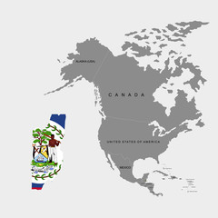 Territory of Belize on North America continent. Flag of Belize. Vector illustration