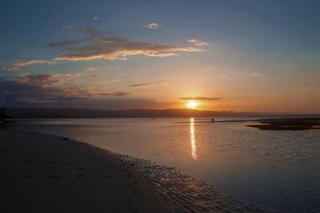 Orange sunset on the beach