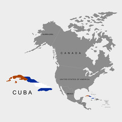 Territory of Cuba on North America continent. Flag of Cuba. Vector illustration