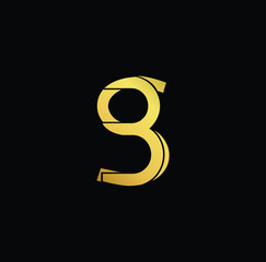 Creative modern professional unique artistic gold color BS SB initial based Alphabet icon on black background