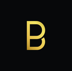 Creative modern professional unique artistic gold color BP PB initial based Alphabet icon on black background