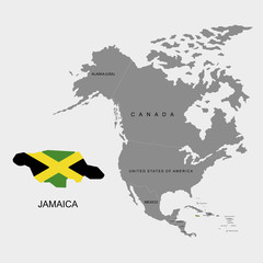 Territory of Jamaica on North America continent. Flag of Jamaica. Vector illustration