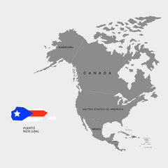 Territory of Puerto Rico on North America continent. Flag of Puerto Rico. Vector illustration