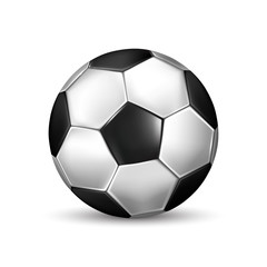 Isolated illustration of realistic black and white soccer ball on white background with shadow
