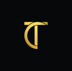 Creative modern professional unique artistic gold color TC CT initial based Alphabet icon on black background