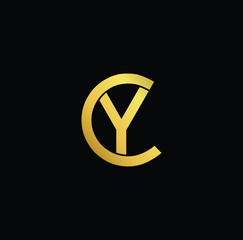 Creative modern professional unique artistic gold color CY YC initial based Alphabet icon on black background