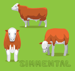 Cow Simmental Cartoon Vector Illustration
