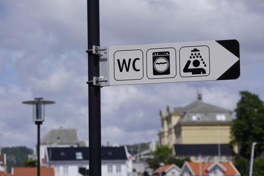 Ferien / Angelurlaub in Südnorwegen - Dusche, WC und Waschmaschine im Gästehafen