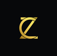 Creative modern professional unique artistic gold color CZ ZC initial based Alphabet icon on black background