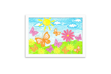 Photo frame with summer motif picture. Colored pencils drawing, author's design illustration. Colorful butterflies and daisy flowers. Wall art decor mock up