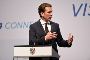 Federal Chancellor of Austria Kurz attends a news conference in Budapest.
