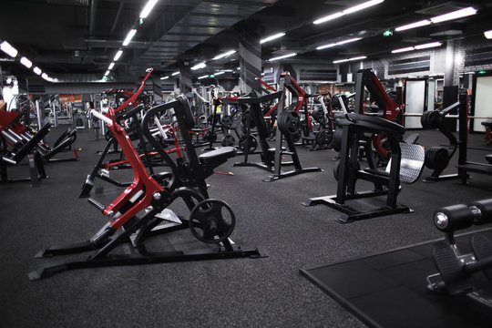 Modern equipment in new gym indoors