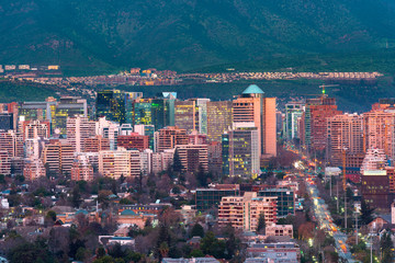 View of residential and office buildings at the wealthy district of Las Condes in Santiago de Chile