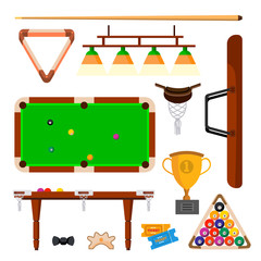 Snooker Icons Set Vector. Snooker, Billiard Accessories. Balls, Cue, Green Table, Lamp. Isolated Flat Cartoon Illustration