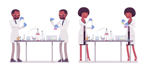 Male and female black scientist in chemical experiments