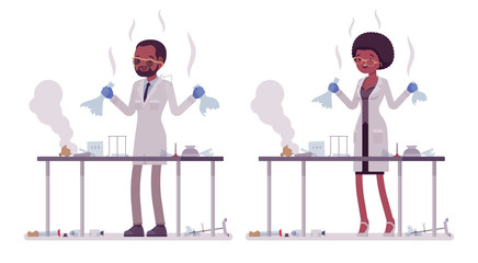 Male and female black scientist failed chemical experiments
