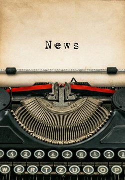 Antique typewriter aged textured paper sheet News