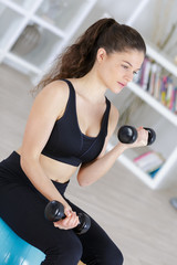 young beautiful fitness girl exercising with dumbbells