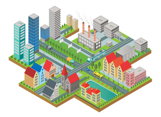 3d isometric three-dimensional modern city view. City with roads, skyscrapers, civil buildings and transport.