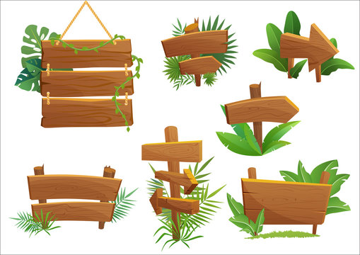 Jungle rainforest wood sign with tropical leaves with space for text. Cartoon game vector illustration.