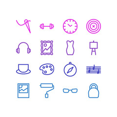 Vector illustration of 16 lifestyle icons line style. Editable set of headphone, picture, wall painter and other icon elements.