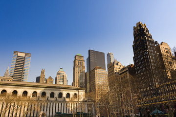 Skyline of buildings at midtown Manhattan from Bryant Park, New York City, USA